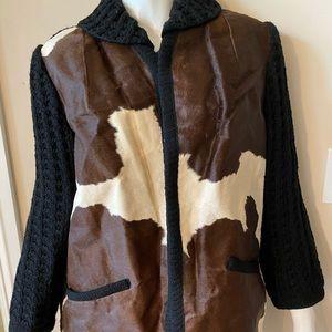 Vintage cowhide leather 3/4 length jacket